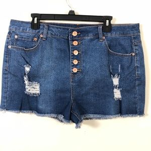 Forever 21+ Distressed Button Zip Denim Shorts 2x